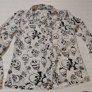 Sheer Skull Button Up